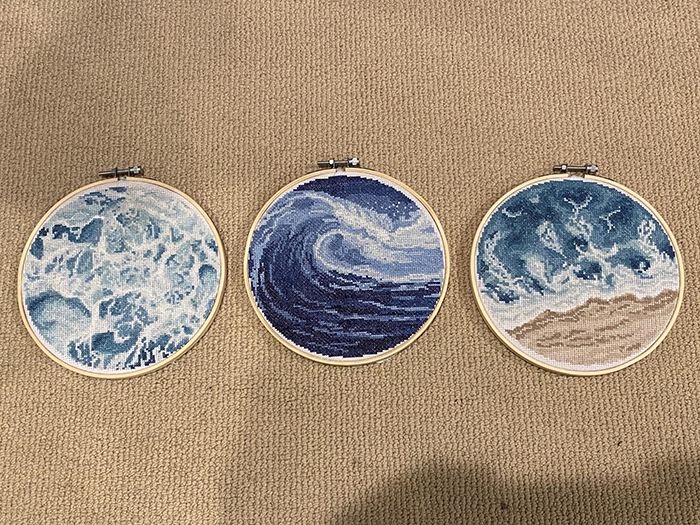 cross-stitch art ocean triptych