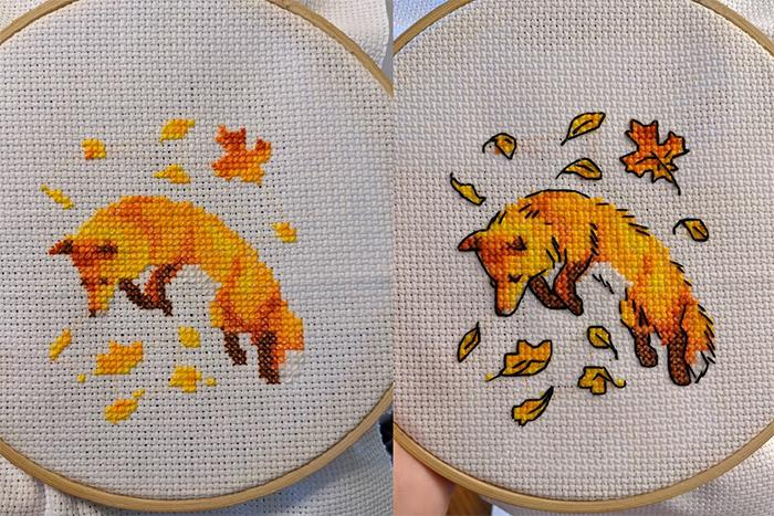 cross-stitch art wolf before and after backstitching