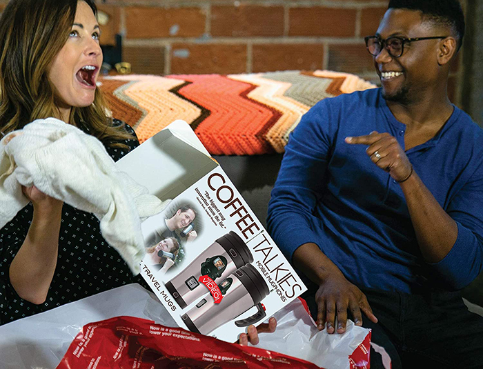 giftee relieved reaction upon finding real gift inside coffee talkies prank gift box
