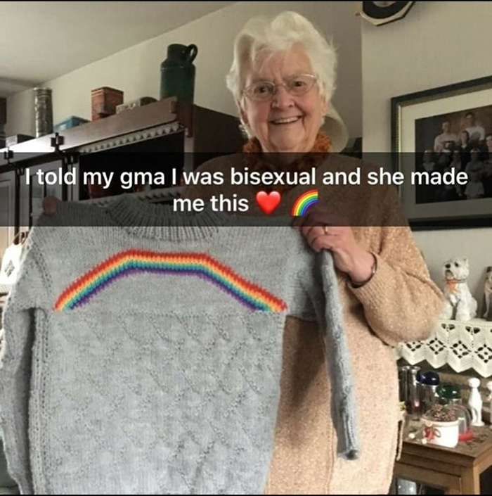 grandmother knitted rainbow sweater for bisexual grandchild