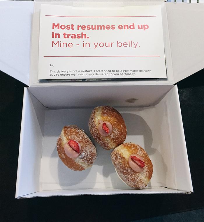 guy sneaks résumé into boxes of donuts