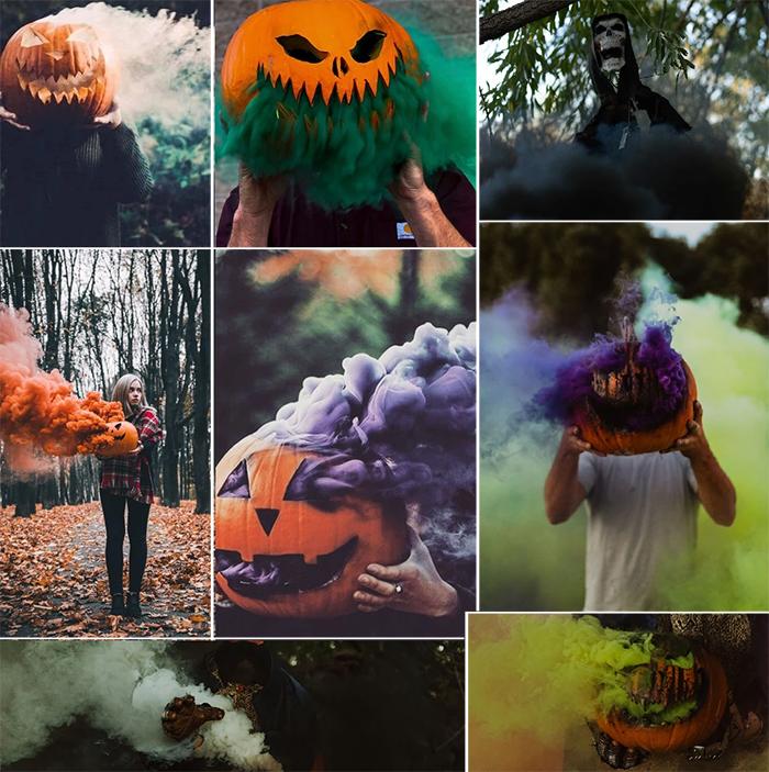 halloween smoking jack-o-lantern colored