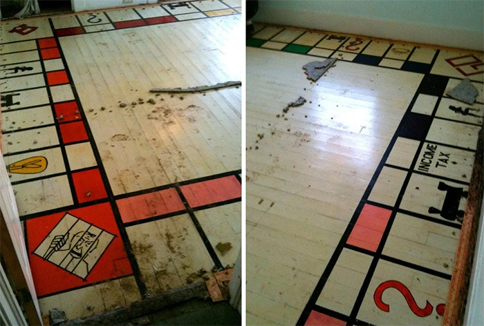 homeonwer discovers giant monopoly board painted onto floor