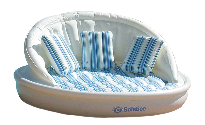 inflatable couch with throw pillows