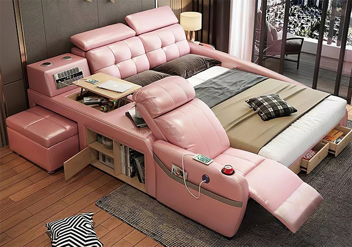 jubilee furniture monica all-in-one smart bed pink