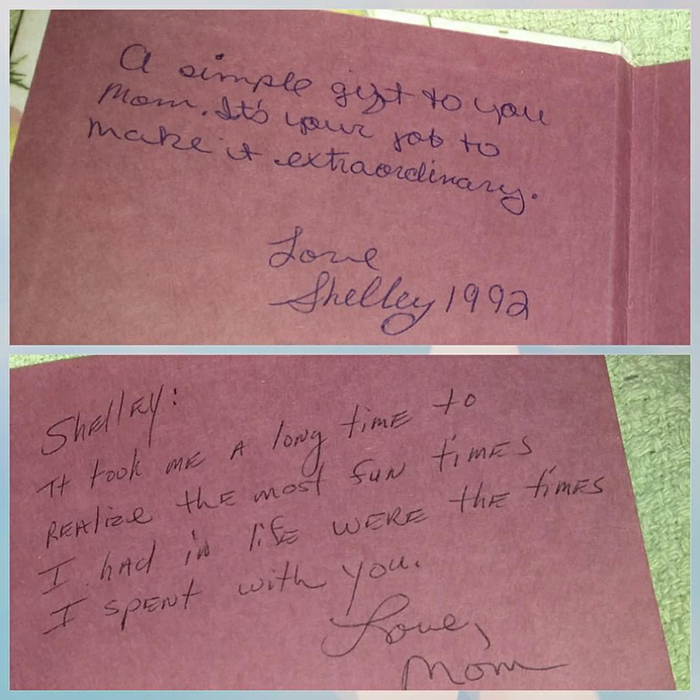mother's reply to daughter's letter on blank book