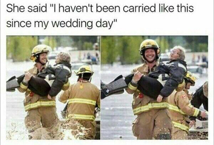 old people being wholesome conversation with fireman