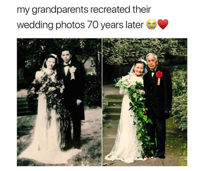 old people being wholesome couple recreating wedding photo 70 years later