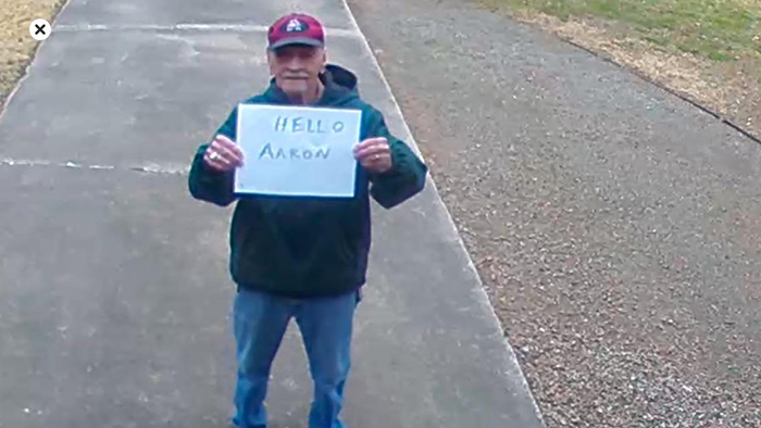 old people being wholesome grandfather sending random messages through security camera