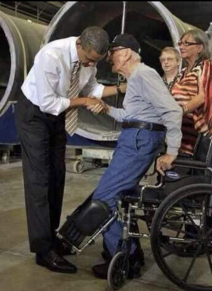 old people being wholesome handicapped veteran shaking obama's hand