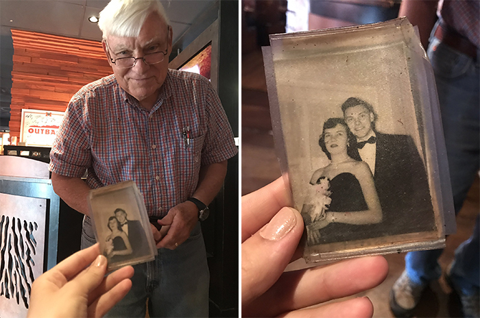 old people being wholesome man showing picture with wife at prom