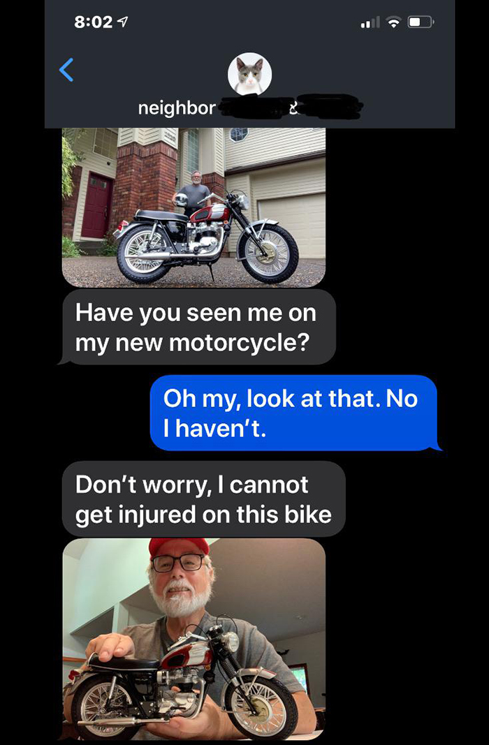 old people being wholesome neighbor showing off toy bike
