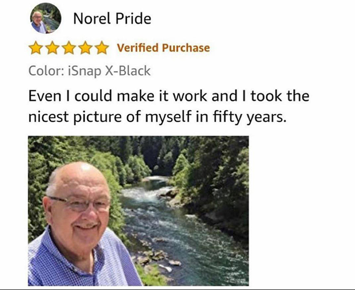 old people being wholesome selfie stick review