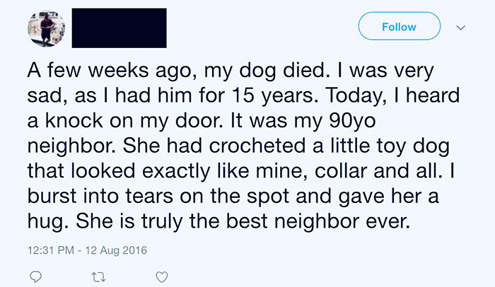 old people being wholesome woman crocheted toy dog for neighbor