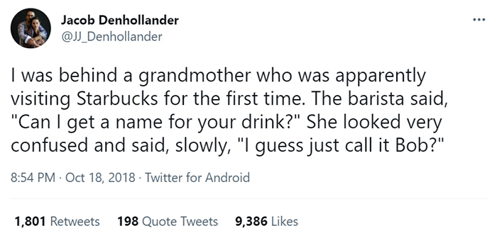 old people being wholesome woman naming her starbucks drink