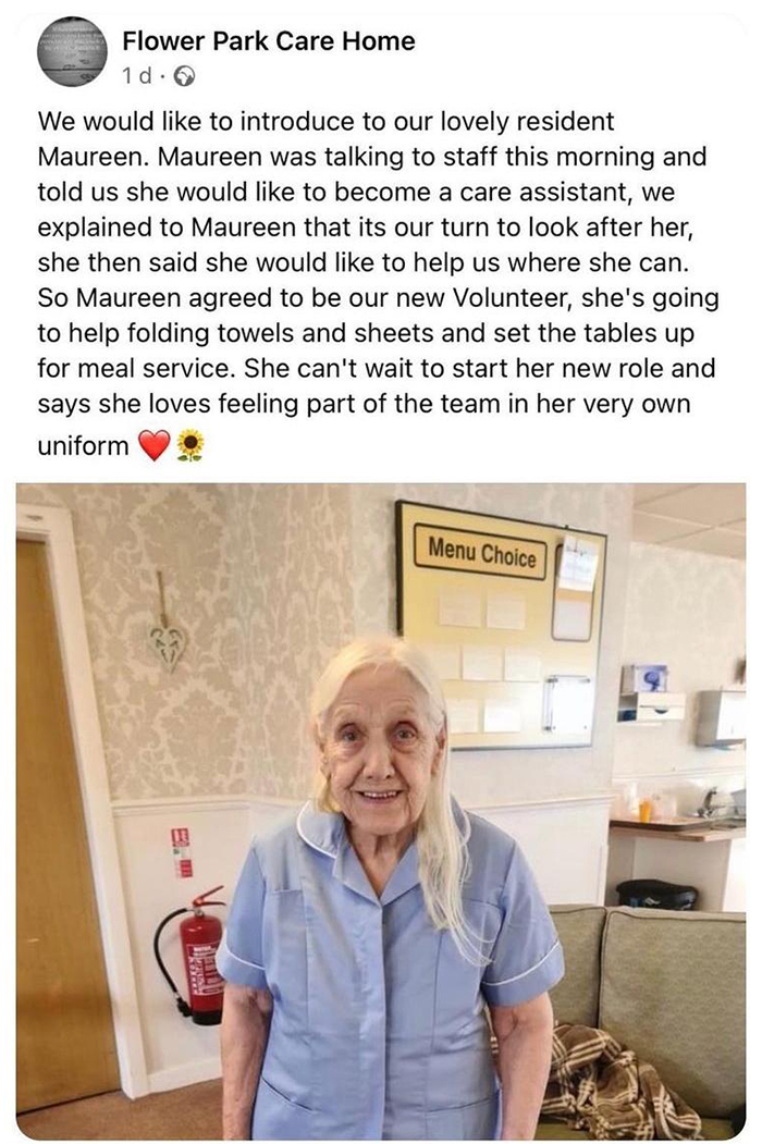 old people being wholesome woman offering to volunteer at care home