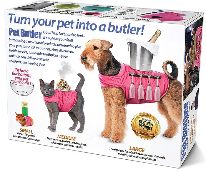 pet butler serving vest prank box