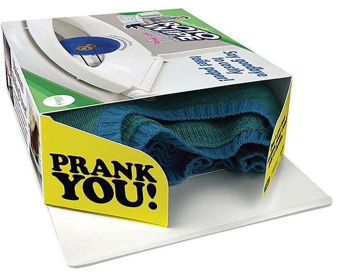 prank box with bright yellow flaps