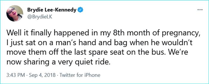 pregnant women struggles bus seat