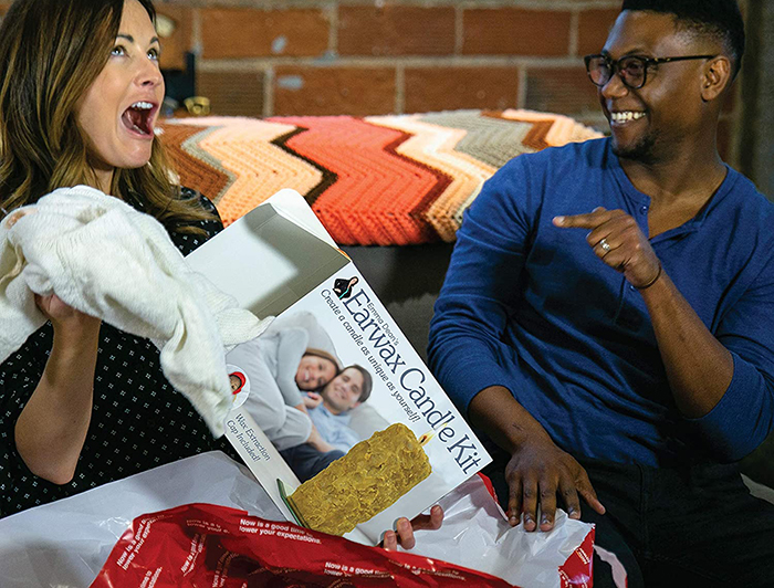 recipient relieved reaction upon finding real gift inside prank gift box