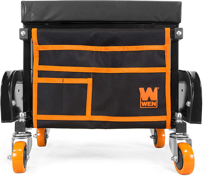 rolling tool box seat removable fabric storage pouch