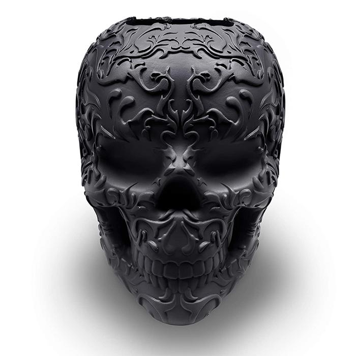 skull makeup brush holder scroll artwork