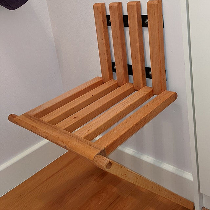 space saving foldable seat natural wood