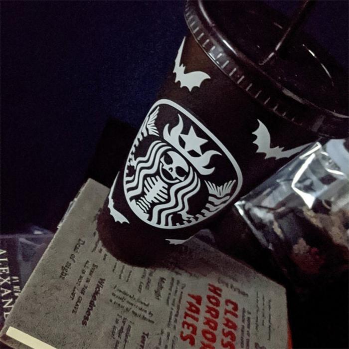starbucks-inspired matte black skeletal mermaid cup halloween