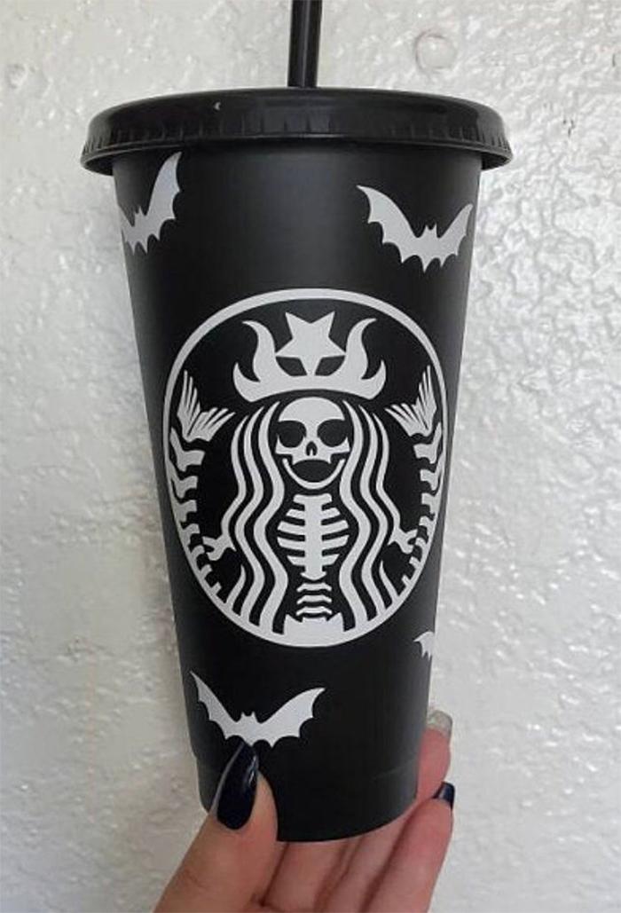 starbucks-inspired matte black skeletal mermaid cup venti-size