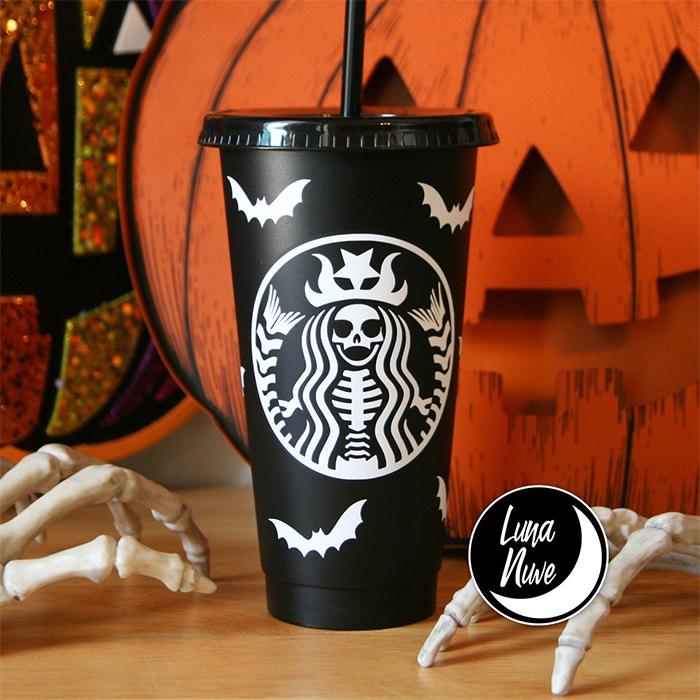 starbucks-inspired matte black skeletal mermaid cup