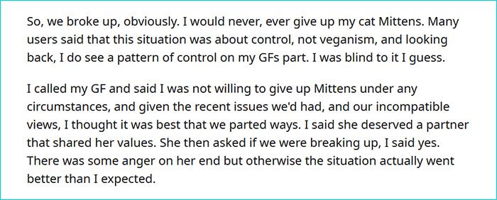 vegan gf demands man to give away his cat 8