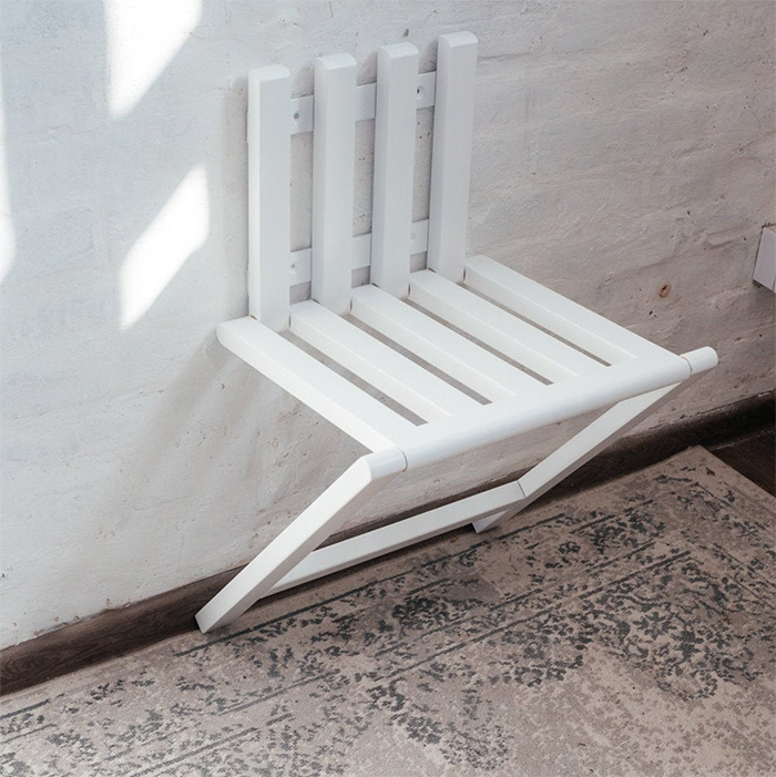 wall mounted folding chair white finish