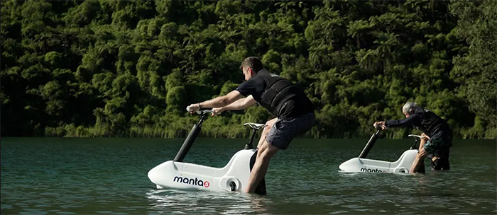 water bicycle with variable pedal assist
