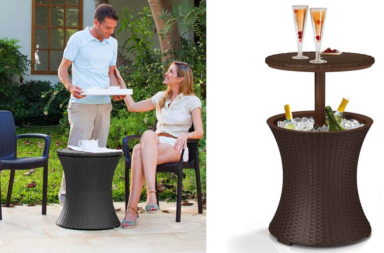 Outdoor Patio Table With Built-In Cooler