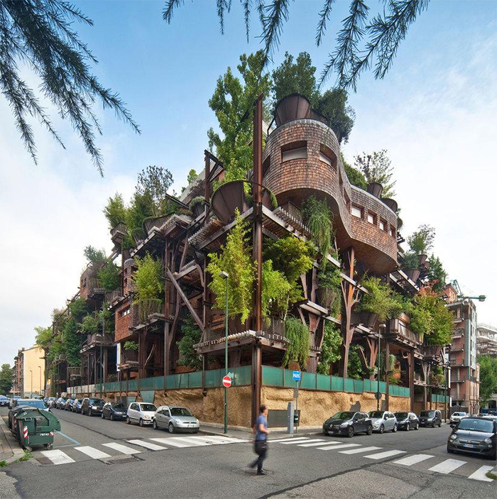 apartment building holds 150 trees