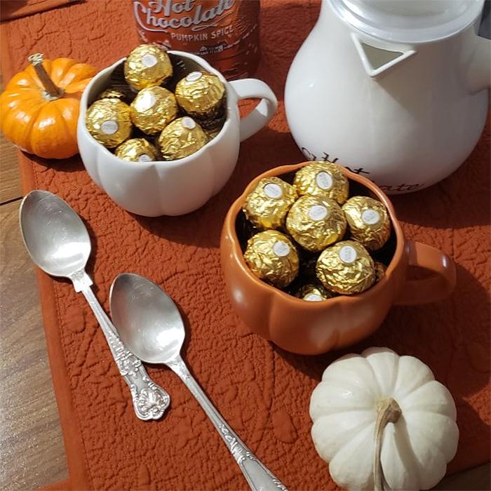 autumn-themed stoneware mugs