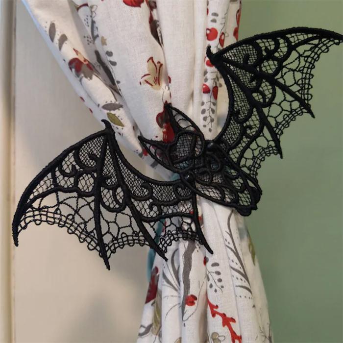 bat-shaped curtain decor