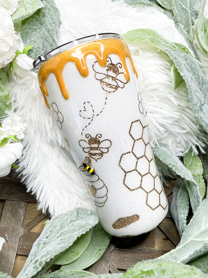 bee happy tumbler curved style