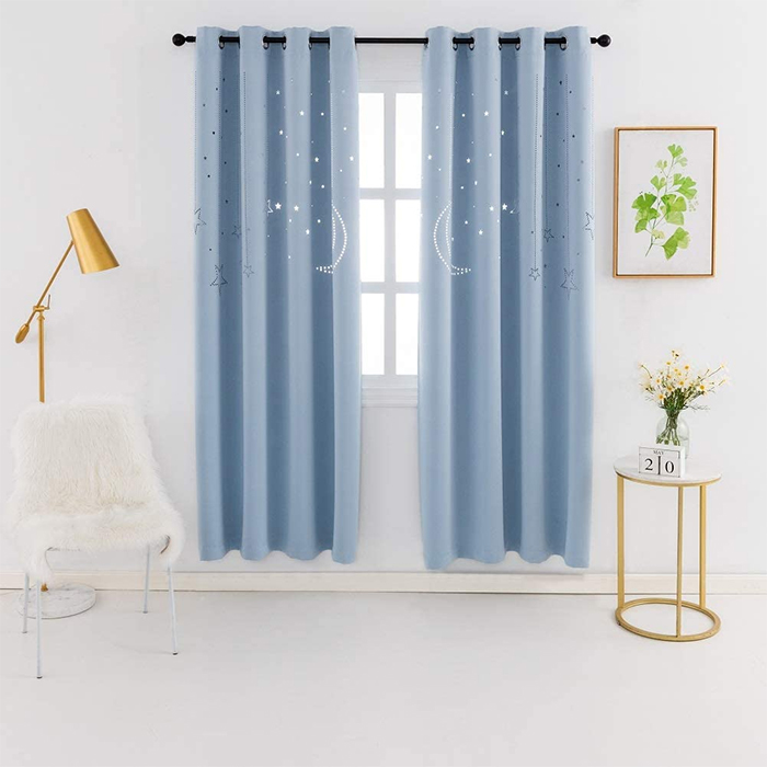 blackout curtains with galaxy cutout baby blue