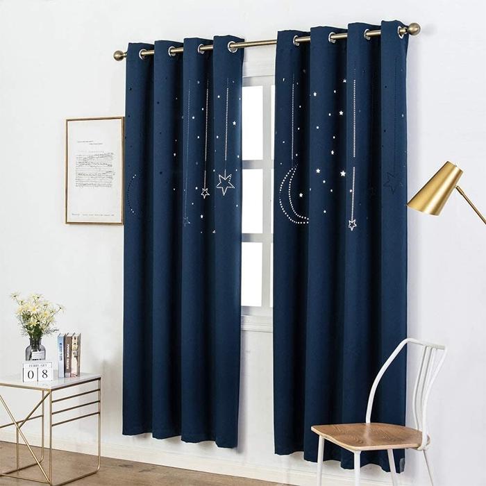 blackout curtains with galaxy cutout dark navy