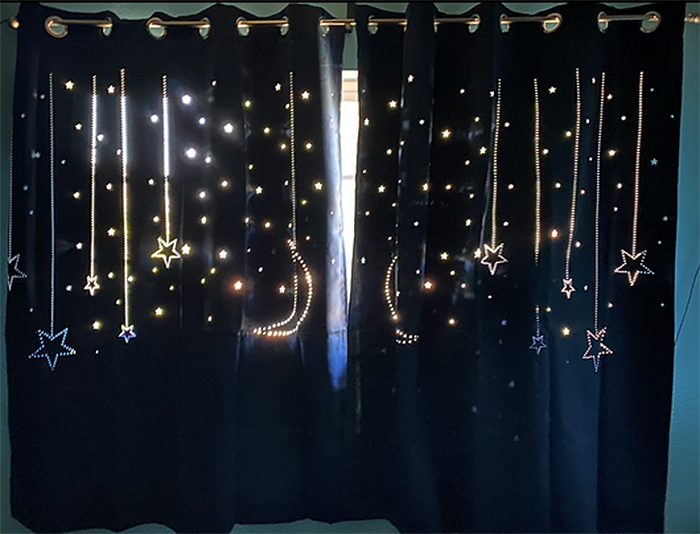 blackout curtains with galaxy cutout daytime