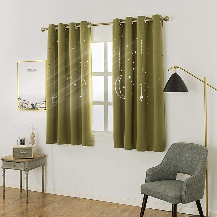 blackout curtains with galaxy cutout olive