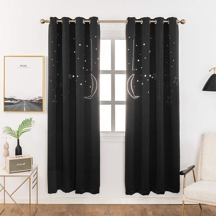 blackout curtains with galaxy cutout