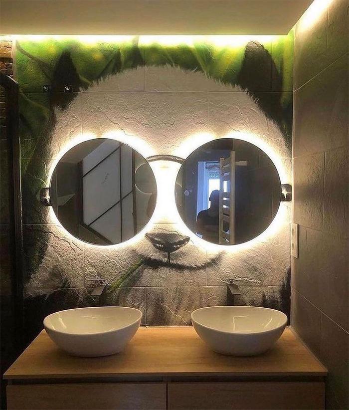 brilliant design ideas bathroom panda painting