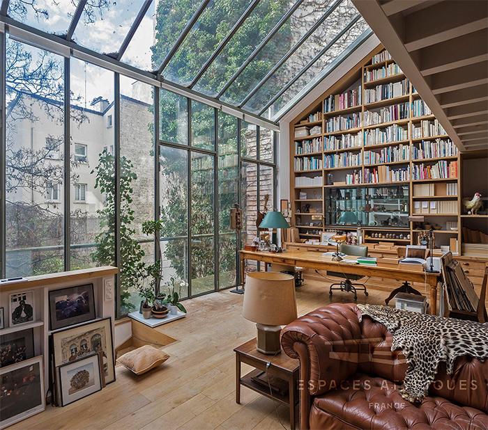 brilliant design ideas glass wall home library