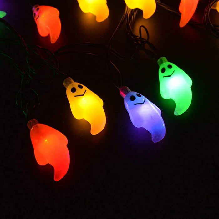 colorful halloween ghost led string solar lights