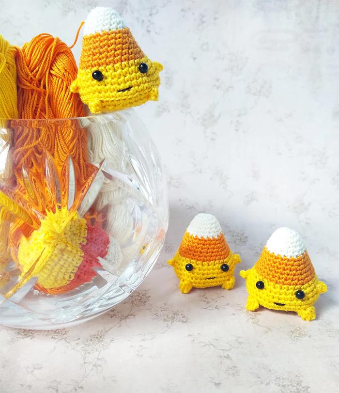 crochet mini candy corn amigurumi