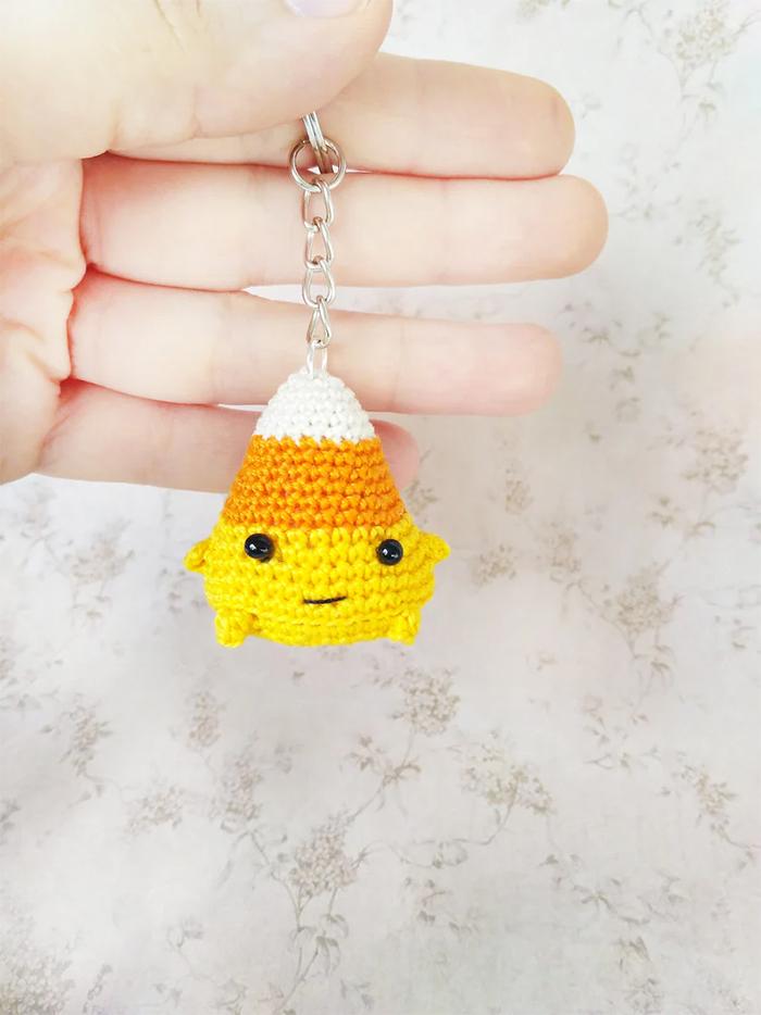 crochet mini candy corn keychain
