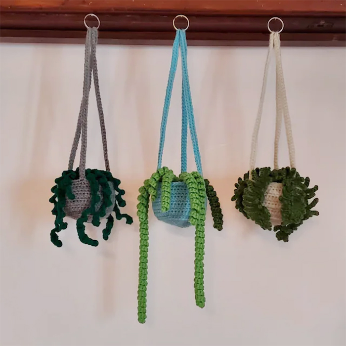 crochet succulents hanging plants