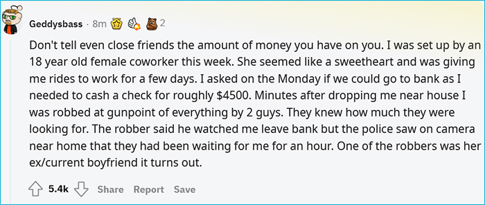 do not tell friends how much money you have